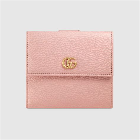 Pink Wallet gucci leather flap wallet in pink lyst