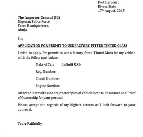 Application Letter Format With Thru Sle Letter Of Application For Permit To Use Tinted Glass In Nig Politics Nigeria