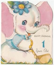 baby white elephant with flower vintage 1 year birthday greeting card elephant