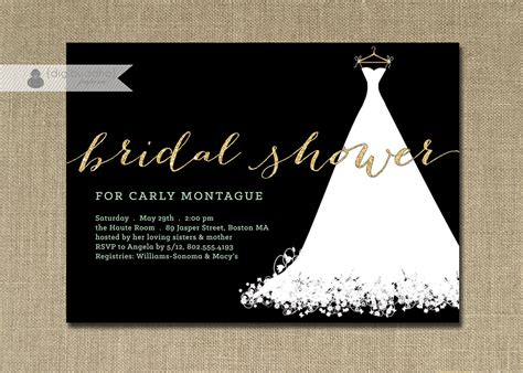 black and gold bridal shower invitations gold glitter bridal shower invitation wedding gown mint green