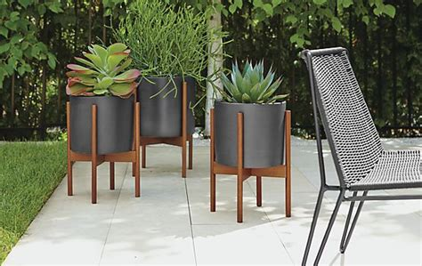 case study planters in black walnut modern outdoor