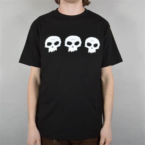 T Shirt Band Zero X Store zero skateboards three skulls skate t shirt black skate clothing from skate store uk