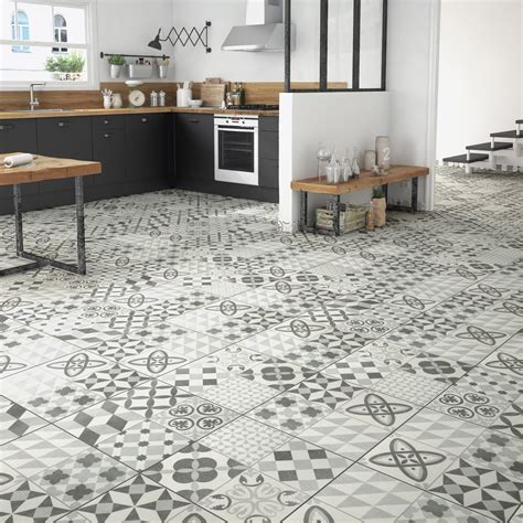 carrelage cuisine sol leroy merlin carrelage sol gris effet ciment ruban l 45 x l 45 cm