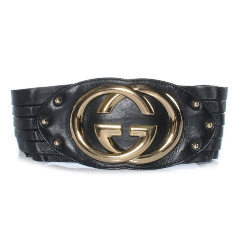 gucci leather wide gg britt belt black 70 28 41559