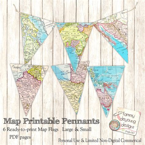 Printable Banner Map | map banner bunting map pennant flags diy printable map