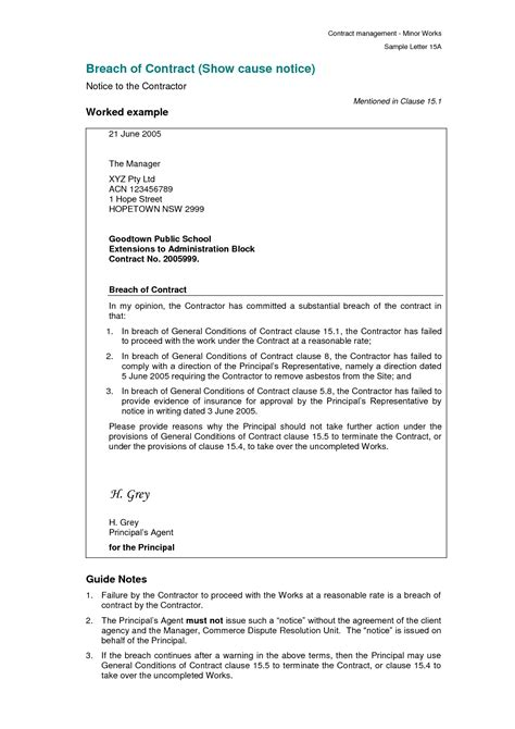 termination letter format for breach of contract breach of contract letter template