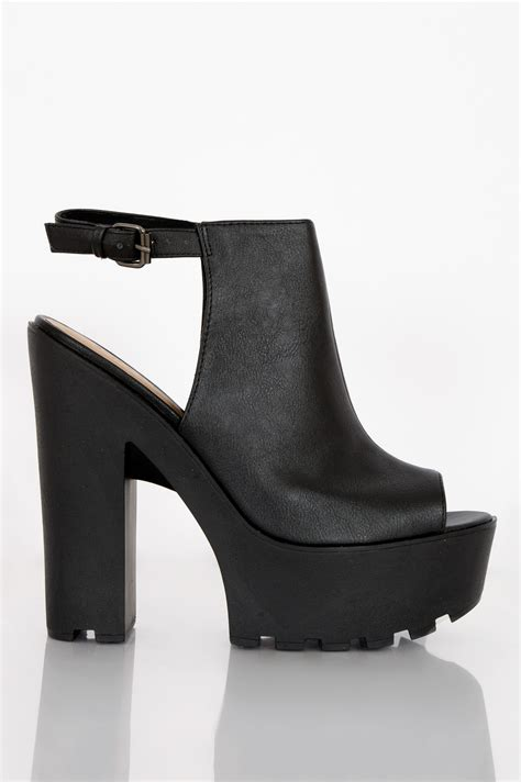 Carissa Platform Shoes by Carissa Black Leather Cut Out Platform Heels Shelikes