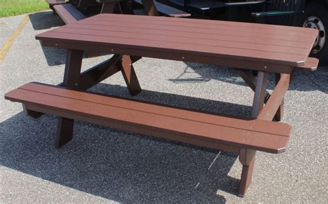 amish picnic table poly 6 classic picnic table with attached benches amish