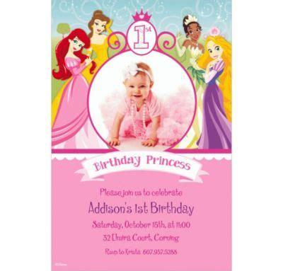 custom disney princess 1st birthday photo invitations city - Disney Princess 1st Birthday Invitations