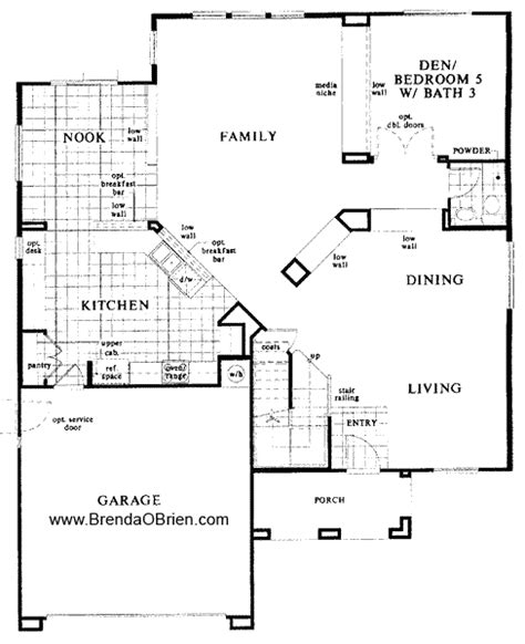 black ranch floor plan kb home model 3233 downstairs