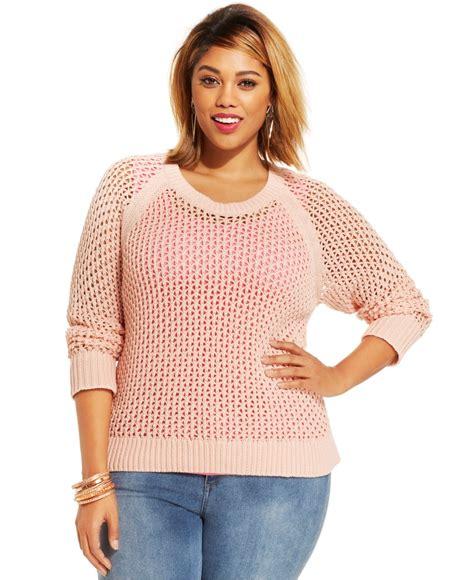 plus size knit sweater plus size open knit sweater in pink lyst