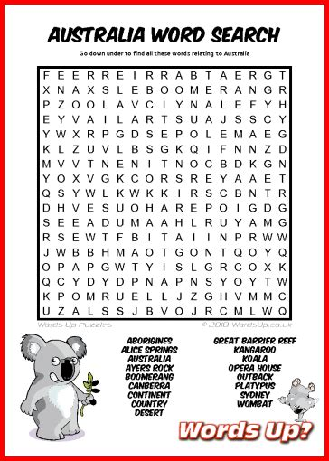 words  australia word search