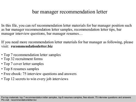 Reference Letter Bar Manager Bar Manager Recommendation Letter