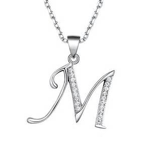 s sterling silver initial pendant necklace made with
