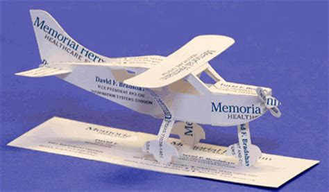Airplane Gift Card - business card sculpture cessna style airplane business card gift