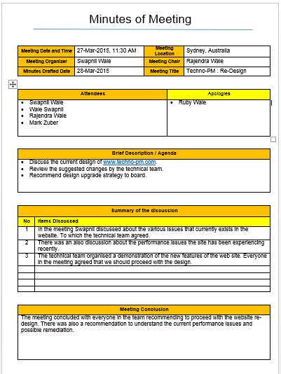 Meeting Minutes Template Excel And Word Free Download Free Project Management Templates Meeting Minutes Template Excel
