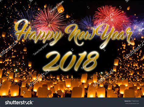 lanterns and firecrackers a new year story happy new year 2018 sky lanterns stock photo 773837431
