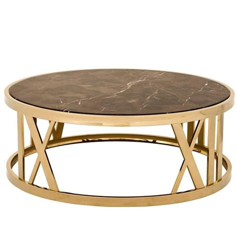 coffee table in gold finish and brown marble for