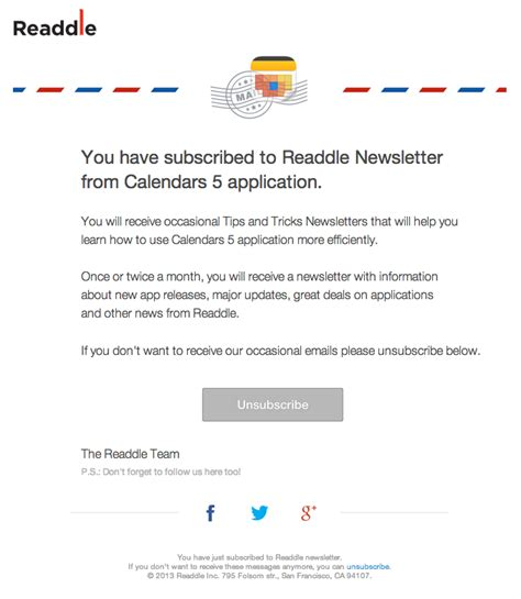 subscription confirmation email design from readdle