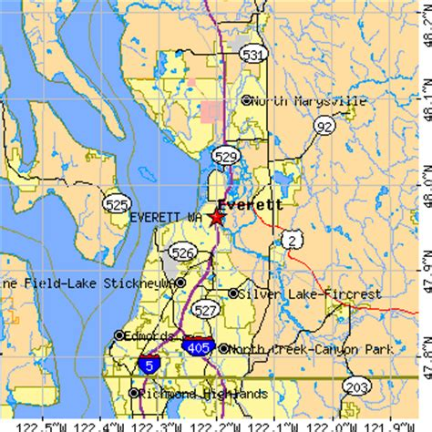 zip code map everett wa everett washington wa population data races housing