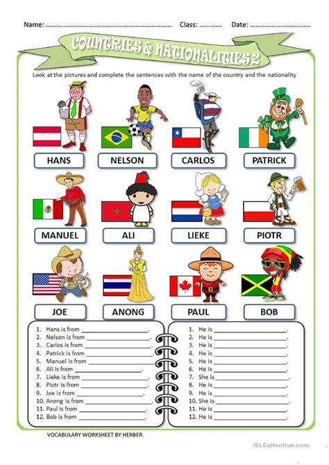 Nationalities In Worksheet by Countries And Nationalities 2 Ws Worksheet Free Esl