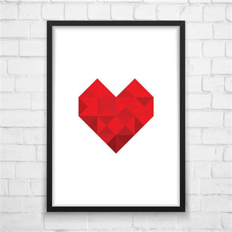 printable heart poster heart poster geometric heart print heart by