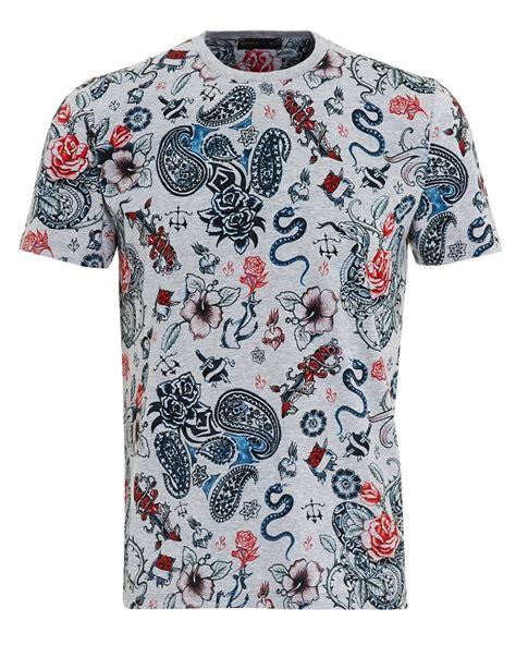 tattoo t shirts etro mens print t shirt regular fit grey