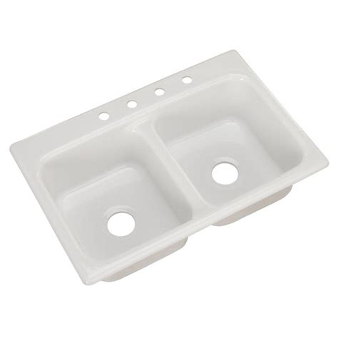 White Kitchen Sinks Glacier Bay Beaumont Drop In Acrylic 22 In 4 Bowl Kitchen Sink In White 10400 The