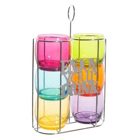 bicchieri da porto 6 bicchieri da acqua supporto in metallo enjoy your