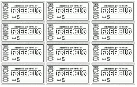 printable tickets and coupons free printables online free hugs coupon and coloring on pinterest