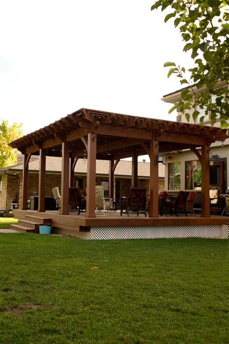 Timber Frame Pergola With Lattice Full Wrap Around Roof Deck Pergola Kits