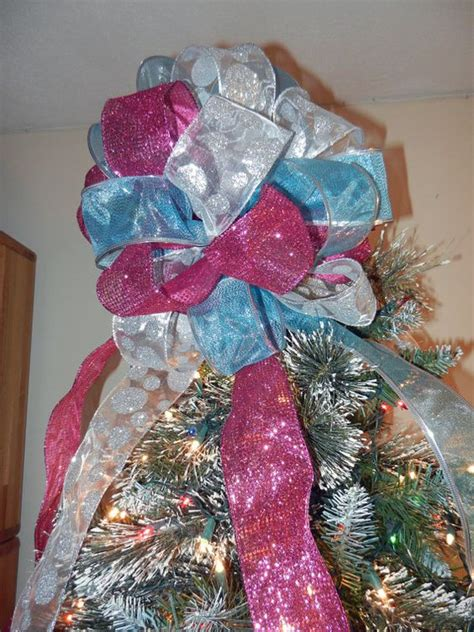 large christmas tree topper bow 3 ribbons teal pink and