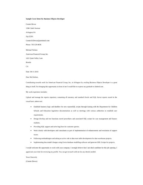 cover letter object basic business objects developer cover letter sles and