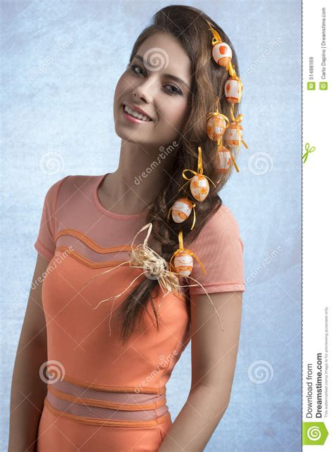 easter time avarde look hairstles girl with easter hair style stock photo image 51488169