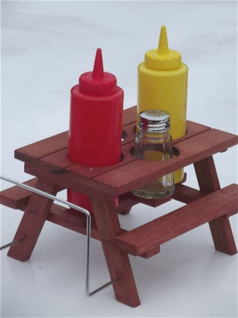 vintage redwood picnic table retro plastic picnic ketchup mustard bottles s p set in