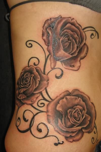 large rose tattoo big flowers