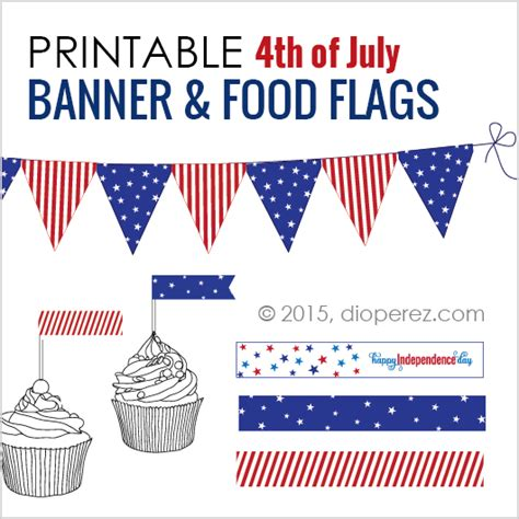 printable fourth of july banner free 4th of july printable banner food flags