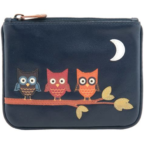Top Zipper Owl Berkualitas 1642 owl applique leather zip top coin purse