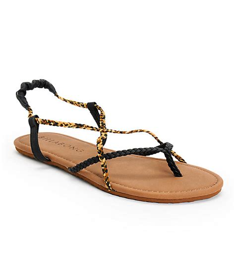 billabong crossing sandal billabong crossing black leopard print sandals zumiez