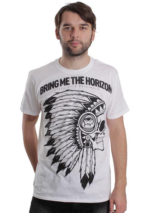Tshirt Black Indian bring me the horizon indian skull white t shirt