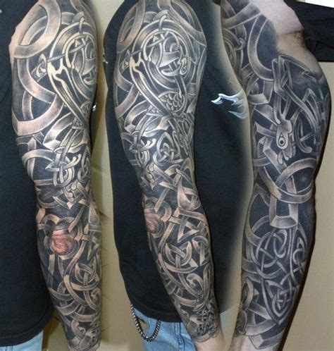 celtic and bali inspired sleeve by meatshop tattoo on 40 celtic sleeve tattoo designs for men manly ink ideas
