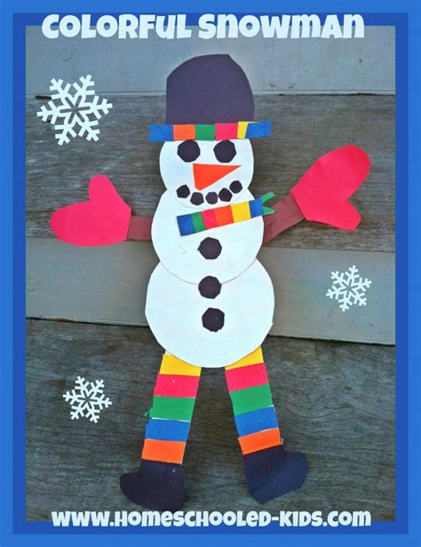 crafts snowman colorful snowman craft for homeschooled