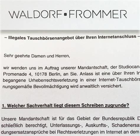 Musterbrief Widerspruch Gegen Zahlungsaufforderung Abmahnung Der Kanzlei Waldorf Frommer
