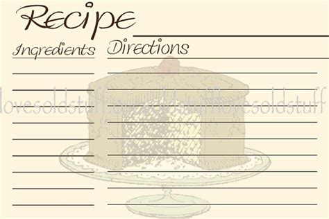 printable cake recipe retro cake recipe cards 4x6 recipe card 3x5 by lovesoldstuff