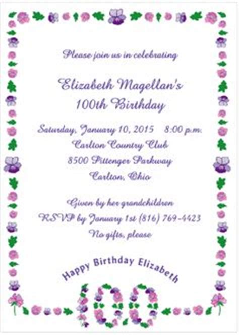 floral 100th birthday invitations