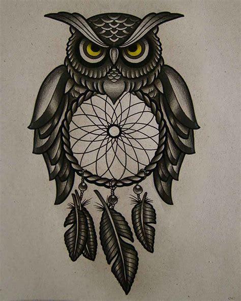 owl dreamcatcher tattoo classic black ink owl dreamcatcher design