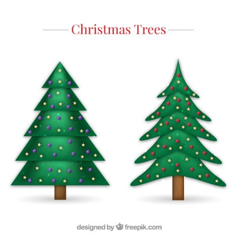 christmas trees with decoration vector free download