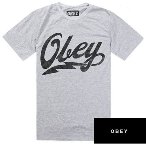 Tshirt Obey Name obey cursive tunder bold t shirt gray