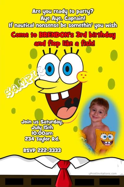 spongebob id card template spongebob squarepants birthday invitations