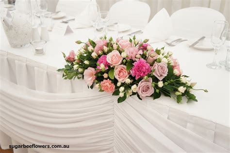 Wedding Table Flower Arrangement by Sugar Bee Flowers Pink And White Wedding